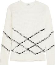 Vince , Intarsia Cotton Blend Sweater Off White