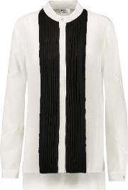 Vionnet , Two Tone Pleated Silk Crepe Blouse White