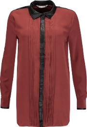 W118 By Walter Baker , Marcy Faux Leather Trimmed Silk Crepe De Chine Shirt Claret