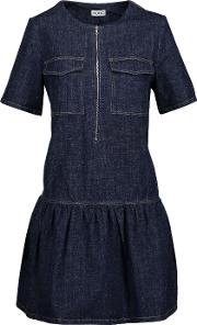 Suno , Pleated Slub Denim Mini Dress Dark Denim