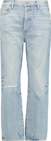 Frame , Le Original Cropped Distressed Mid Rise Straight Leg Jeans Light Denim