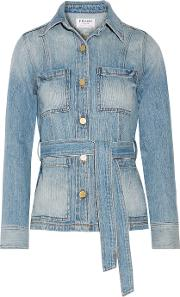 Frame , Le Patch Pocket Belted Denim Jacket Light Denim