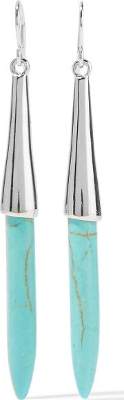 Kenneth Jay Lane , Silver Tone Resin Earrings Turquoise