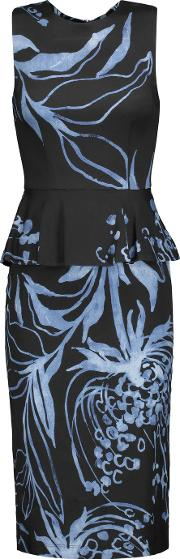 Suno , Printed Silk Blend Peplum Dress Black