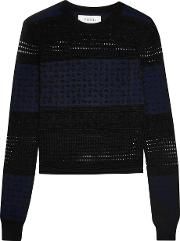 10 Crosby By Derek Lam , Paneled Silk, Merino Wool And Cashmere Blend Sweater Black