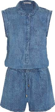 Tart Collections , Uri Printed Chambray Playsuit Mid Denim