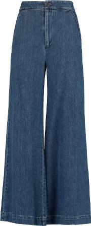 Sea , High Rise Cropped Flared Jeans Mid Denim