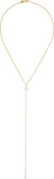 Chan Luu , Gold Plated, Stone And Faux Pearl Necklace One Size