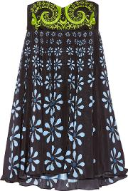 Holly Fulton , Nusch Embellished Wool Twill And Printed Silk Crepe De Chine Mini Dress Black