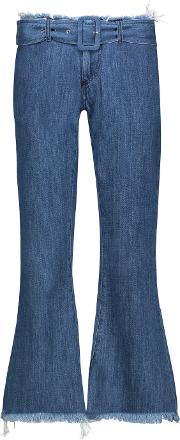 Marques Almeida , Marques' Almeida Mid Rise Belted Frayed Flared Jeans Mid Denim