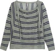 Soyer , Baja Draped Striped Linen And Cotton Blend Sweater Gray Green