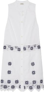 Suno , Embroidered Linen And Cotton Blend Mini Dress White