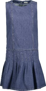 Suno , Pleated Denim Mini Dress Mid Denim