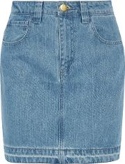 Topshop Unique , Draycott Denim Mini Skirt Mid Denim