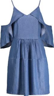 W118 By Walter Baker , Maxwell Cold Shoulder Chambray Mini Dress Mid Denim
