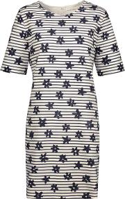 Chinti And Parker , Printed Stretch Cotton Mini Dress Navy