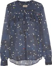 Preen By Thornton Bregazzi , Flounce Polka Dot Silk Georgette Blouse Navy