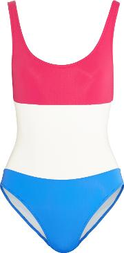 Solid And Striped , Striped Open Back Printed Swimsuit Multi