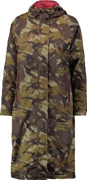 Ganni , Camouflage Print Shell Hooded Coat Army Green