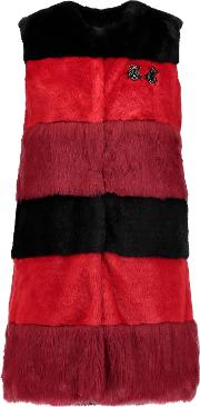 Ainea , Embellished Striped Faux Fur Gilet Red