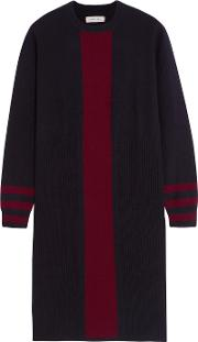 Chinti And Parker , Striped Cashmere Dress Navy