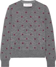 Comme Des Garcons Girl , Polka Dot Intarsia Wool Sweater Anthracite