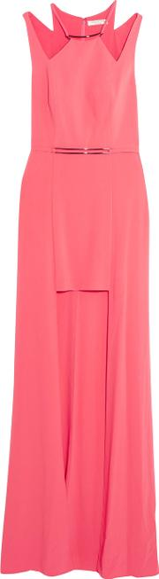 Halston Heritage , Cutout Embellished Crepe Gown Bubblegum