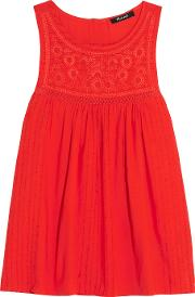 Madewell , Embroidered Cotton Blend Tank Tomato Red