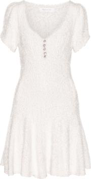 Ryan Lo , Crystal Embellished Textured Stretch Knit Mini Dress Off White