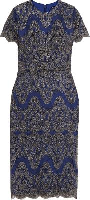 Catherine Deane , Gwyn Embroidered Tulle Dress Royal Blue