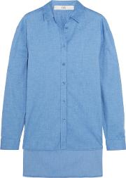 Tibi , Stretch Cotton Chambray Shirt Blue