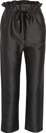 Isa Arfen , Cropped Cotton And Silk Blend Straight Leg Pants Black