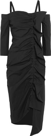 Isa Arfen , Off The Shoulder Ruffled Stretch Cotton Poplin Dress Black