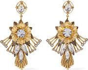 Elizabeth Cole , Alisanne 24 Karat Gold Plated Crystal Earrings One Size