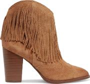 Sam Edelman , Benjie Fringed Suede Ankle Boots Light Brown