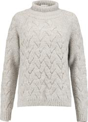 Duffy , Cable Knit Merino Wool Blend Turtleneck Sweater Taupe