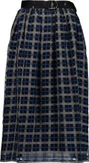 Mother Of Pearl , Harriet Checked Cotton And Silk Blend Skirt Navy