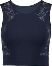 Lucas Hugh , Cropped Printed Technical Knit Stretch Top Midnight Blue