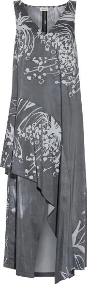 Suno , Layered Printed Crepe Midi Dress Anthracite
