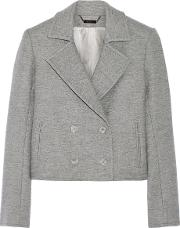 Wes Gordon , Cropped Double Breasted Wool Blend Blazer Anthracite