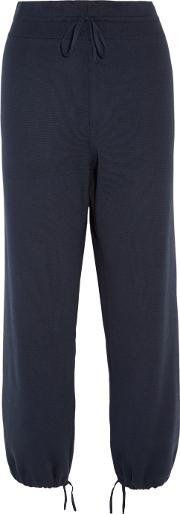 Blend , 1205 Knitted Cotton And Silk  Tapered Pants Navy