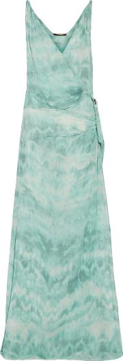 Roberto Cavalli , Gathered Printed Silk Crepe De Chine Gown Turquoise