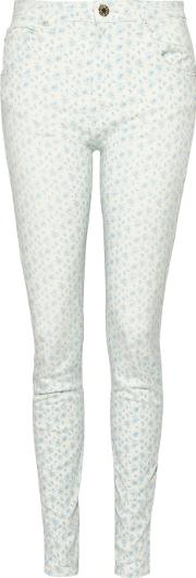 Band Of Outsiders , Printed High Rise Skinny Jeans Light Blue