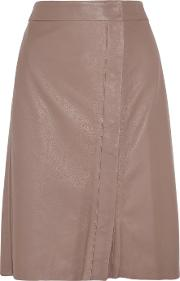Iris And Ink , Leather Wrap Skirt Taupe