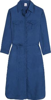 Iris And Ink , Washed Silk Shirt Dress Blue