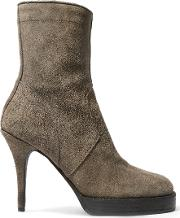 Rick Owens , Suede Ankle Boots Dark Gray
