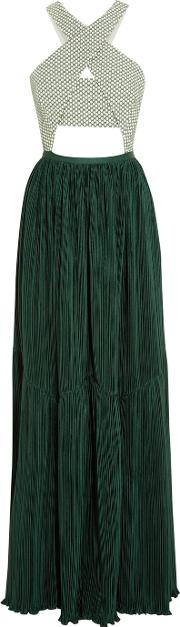 Adeam , Cutout Stretch Cotton Jacquard And Plisse Crepe Gown Forest Green