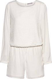 Tart Collections , Hensley Perforated Crepe Playsuit Off White