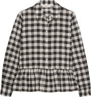 The Great , The Ruffle Oxford Plaid Cotton And Linen Blend Shirt Black