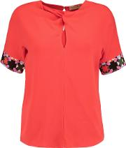 Emilio Pucci , Knotted Crepe Top Papaya